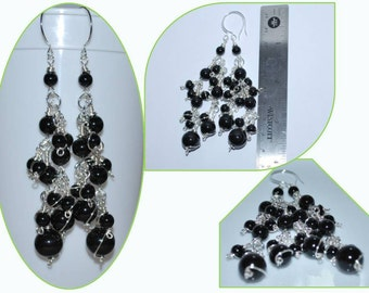 Cluster Pearls Earrings, Cryatal Pearl Earrings, Wire Wrapped Pearl Earrings, Black Bridal Earrings,