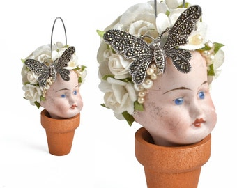 Flower Pot Head, mixed media assemblage, altered art doll, doll head ornament, flower child, by Elizabeth Rosen