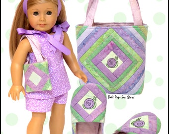 Golly Miss Molly Pattern for Children's Slippers & Tote and American Girl Doll Short Outfit, Slippers and Tote.