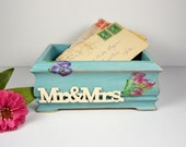 Reserved for M...Wedding Envelope Box or Note Box....Mr. & Mrs. Box in Turquiose