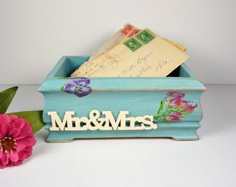 Wedding Envelope Box or Note Box....Mr. & Mrs. Box in Turquiose