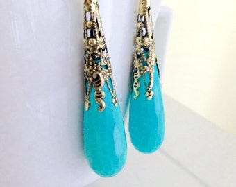 Turquoise Drop Dangles Bridesmaid Earrings Bold Summer