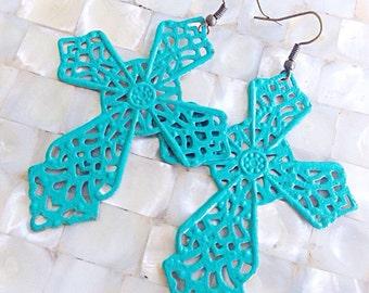 Turquoise Cross Earrings Large Statement Filigree Metal Patina Western Rustic Bohemian Bridesmaid