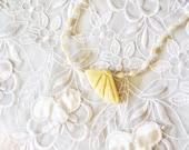 Bone Wing Pendant, Water Pearl & Crystals Necklace,  Ethnic Design, HALF OFF Sale, Item No. B523