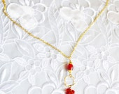 Beaded Necklace, Red Beads, Gold Tone, Made in the U S A, HALF OFF SALE, Item No. B200