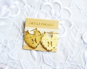 Vintage  Pincatch Earrings, 14K T G F  Letter H Monogram, Heart Shape, 1980's, Item No.B320
