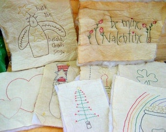 Vintage embroidered quilt blocks holiday