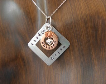 Hand stamped jewelry Mother's Necklace