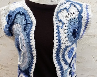 Freeform crochet vest in blue, grey and white