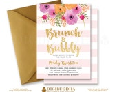 BRUNCH & BUBBLY INVITATION Bridal Shower Invite Blush Pink Stripes Gold Glitter Printable Flower Free Priority Shipping or DiY - Mady