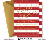 RED & GOLD BRIDAL Shower Invitation Stripes Printable Invite Red and Gold Glitter Modern Wedding Free Priority Shipping or DiY- Wendy