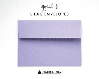 Upgrade to LILAC ENVELOPES Soft Purple Pastel Add-On for any digibuddha Invitations or Thank You Cards. Wedding Bridal Shower Baby Shower