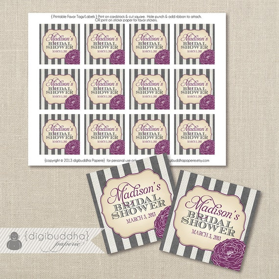 Diy Printable Wedding Favor Tags : ... Wedding Favors Hen Party Labels 2.25 DiY Printable or Printed- Madison