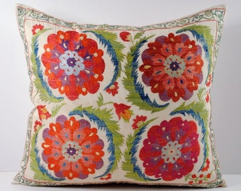 Handmade Suzani Pillow Cover msp12-45, Suzani Pillow, Uzbek Suzani, Suzani Throw, Boho Pillow, Suzani, Decorative pillows, Accent pillows