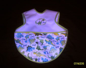 Dino Print Bapron - (Baby Apron) made of PUL fabric with pocket/crumb-catcher