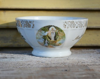 French Vintage Cafe au Lait bowl - Lourdes Souvenir - Saint Bernadette - Religious Souvenir from Catholic Pilgrimage