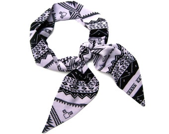 Hair Wrap, Tribal Scarf, Head Scarf, Purse Scarf, Hair Scarf, Aztec Print, Gift for Teen, Under 20 Dollars, Ready to Ship
