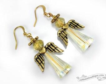 Gold Angel Earrings, white crystal dangles, Holiday jewelry, Christmas earrings, Catholic jewelry Christian earrings, angel dangles, gift