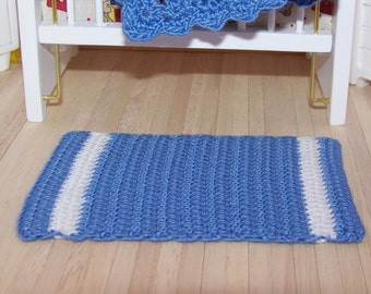 Dollhouse Miniature Hand Crocheted Blue & White Area Rug (Made from Bamboo Thread)