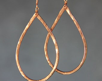Copper textured hammered big teardrop Earrings Bridesmaid gifts Free US Shipping handmade Anni designs