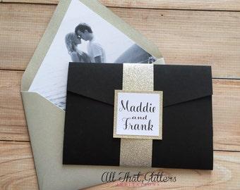 Black and gold wedding invitation, calligraphy wedding invitation suite, Wedding Invitation with picture, Pocketfold Invitation, Madelyn