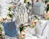 """24 wedding favors  or baptism favors 24pcs Organza bags, 4"""" x 6"""" organza bag , 24 blue mini  rosaries  favor and 24 blue tags , turquoise,"""