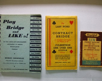 Vintage OLD Bridge Game Books Set of 3 How To Play Card Game 1930's - 1940's Books