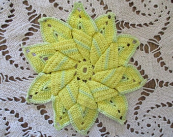 Vintage Sunflower Potholder Handmade Crocheted Yellow Flower Cotton Crochet Thread  Lace Doilie Kitchen