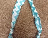 Fabric Nursing Necklace- Teal Chevron