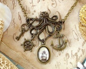 The Kraken in Brass : Kraken Necklace - Octopus Necklace - Pirate Ship and Anchor Pirate Jewelry / Statement Necklace