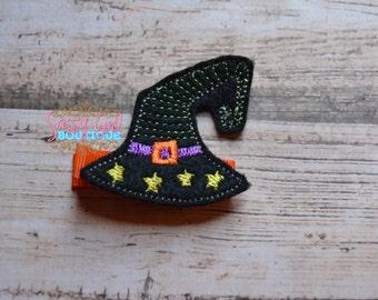 Holiday-Girls Hair Accessories -Witch Hat Felt Hair Clip -Halloweeen- Boutique Embroidered Hair Clippie-No Slip Grip