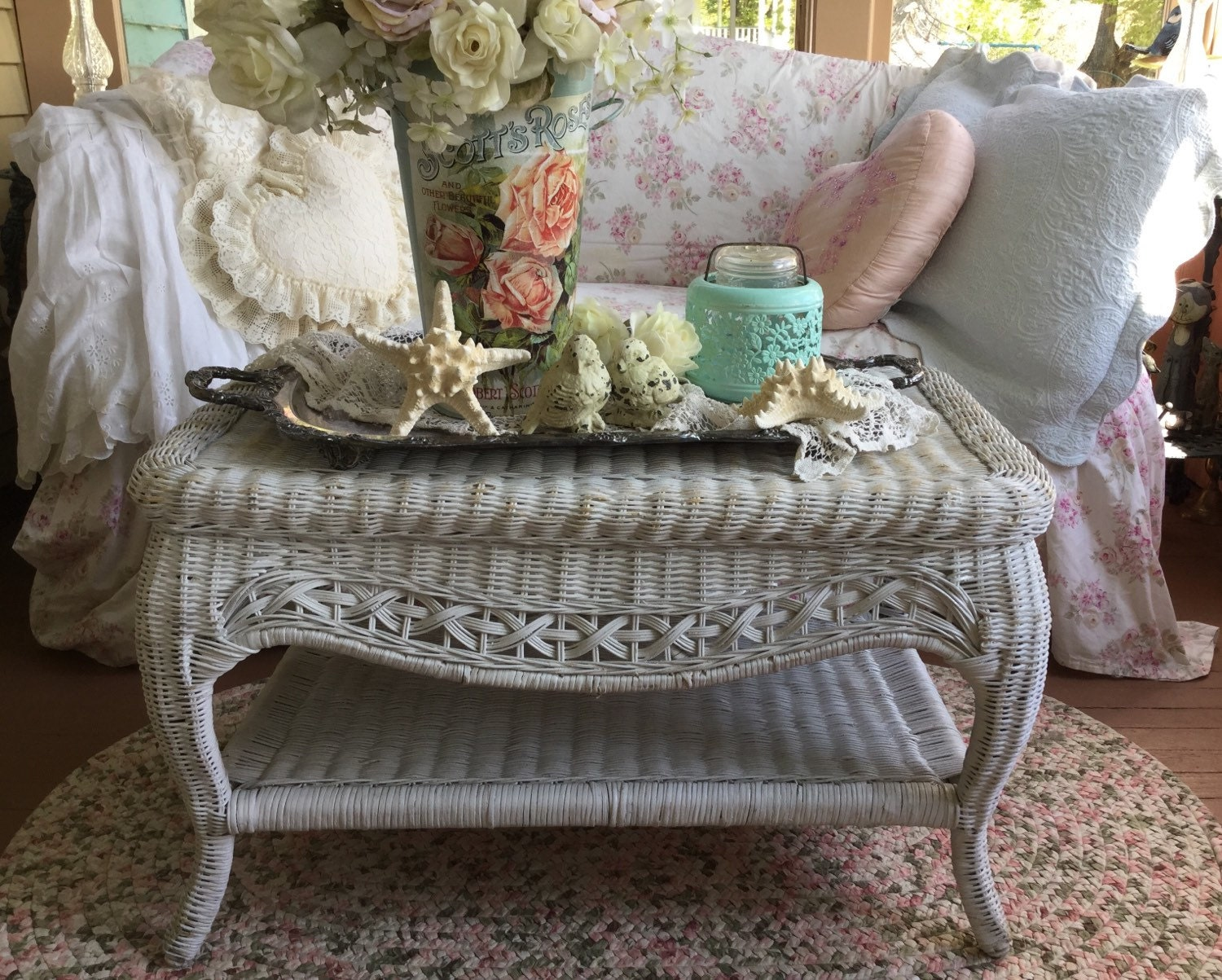 Shabby Chic Wicker Coffee Table Shabby Elegant By Fannypippin