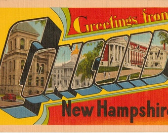 Linen Postcard, Greetings from Concord, New Hampshire, Large Letter, ca 1950