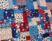 "Handmade ""Red, White and Bold"" Quilt Throw Size Patriotic Stars and Stripes"
