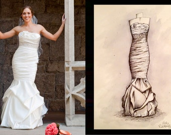 "11"" x 14"" Custom Wedding Dress Illustration - Dress Sketch, Wedding Gown Sketch, Wedding Gift"