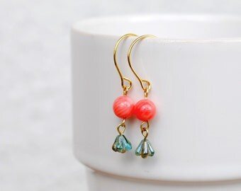 Czech Glass Flower And Pink Coral, Romantic, Gold Earrings, Brass Earrings, Charm, Drop, Summer Fashion,Rounded Earwire