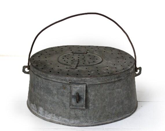 Amazing very old large ZINC french fishing box - fishing creel - fishing basket - Industrial loft deco