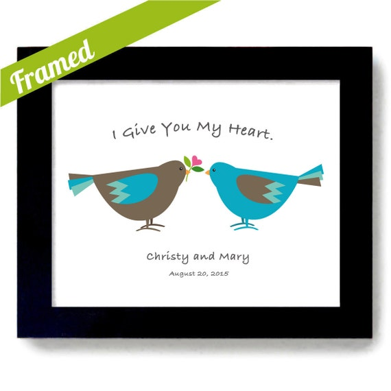 Gay Wedding Gift Personalized Gift Gay Marriage Lovebirds Art Print ...