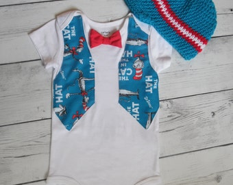 Baby Bodysuit Birthday Outfit, Cat In the Hat Bodysuit Suspender and Hat, 1st Birthday Outfit set