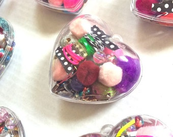 DIY Cute Heart-Shaped Craft Jewelry Making Kit with Cording, Elastic, Beads, Pom Poms and More