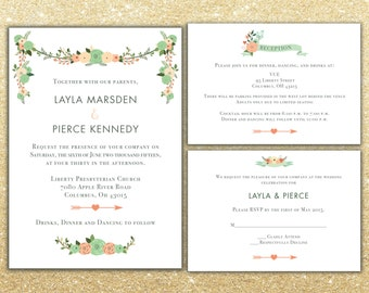 Printable Floral Wedding Invitation package, RSVP and info card, Custom Wedding invite