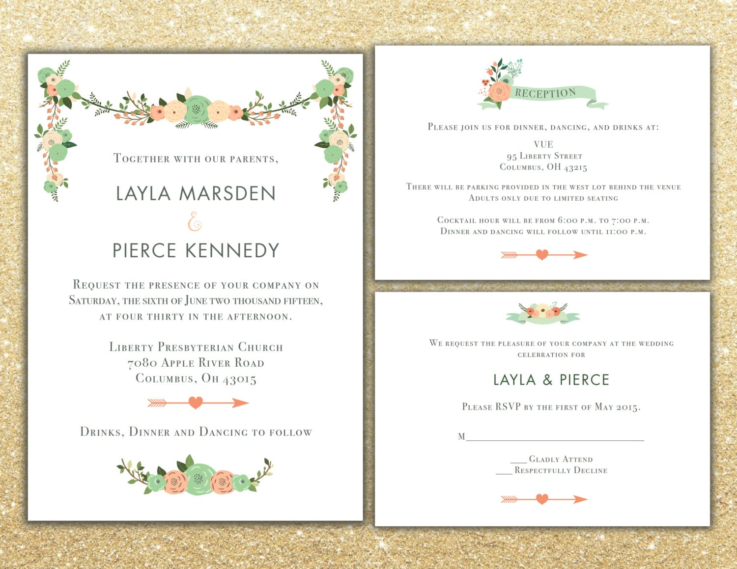 lds wedding invite lds wedding invitations Printable Floral Wedding Invitation package RSVP and info card Custom Wedding invite