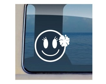 Happy Face Decal Hawaiian Hibiscus Sticker - 474