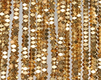 3x2mm 18K Gold Hematite Gemstone Gold Faceted Rectangle Loose Beads 15.5 inch Full Strand (90185548-837)