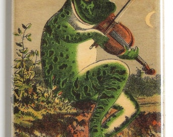 Frog with Violin Fridge Magnet