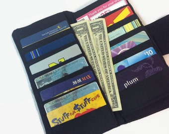 Women's Wallet, Black Wallet, Credit Card Holder, Bifold Wallet, Credit Card Wallet, Zippered Coin Pocket, 2 money pockets