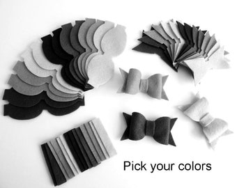 Felt Bows Unassembled. Set of 100 bows, Pick your colors.