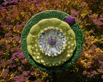 Glass Plate Flower Art Decor for the Garden