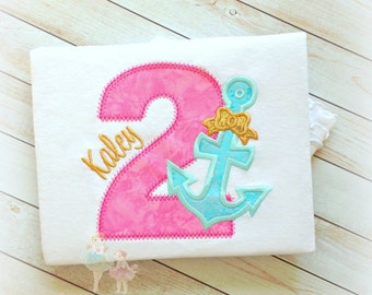 Birthday Anchor Applique Shirt- Pink, Aqua, and Gold- Anchor with Bow- 1st, 2nd, 3rd, 4th, 5th, 6th birthday