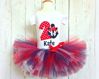 Nautical birthday outfit - anchor birthday tutu outfit - red and navy nautical theme tutu outfit - 1st birthday outfit for girls
